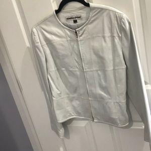Pearlized White Leather jacket